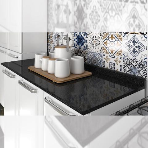 Imagem de Balcão Cozinha Itatiaia Luce 2 Portas 3 Gavetas Branco/Preto IG3G2-105