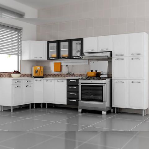 Imagem de Balcão Cozinha Itatiaia Premium 2 Portas 4 Gavetas com Pia Branco/Preto IG3G4GD-120