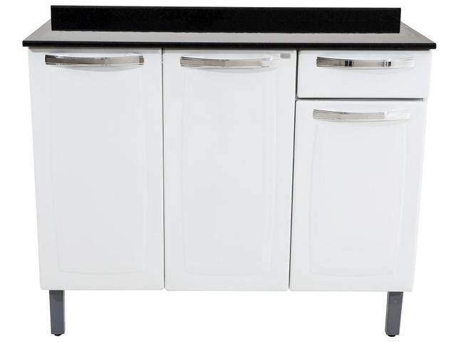 Imagem de Balcão Cozinha Itatiaia Rose 3 Portas 1 Gaveta Branco IG3G1-105