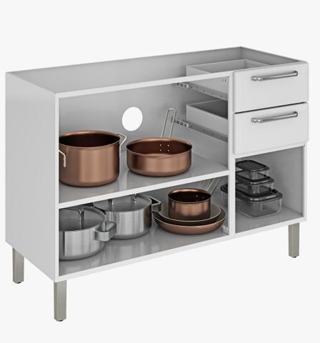 Imagem de Balcão Cozinha Itatiaia Tarsila 3 Portas 2 Gavetas com Pia Branco 1,20m