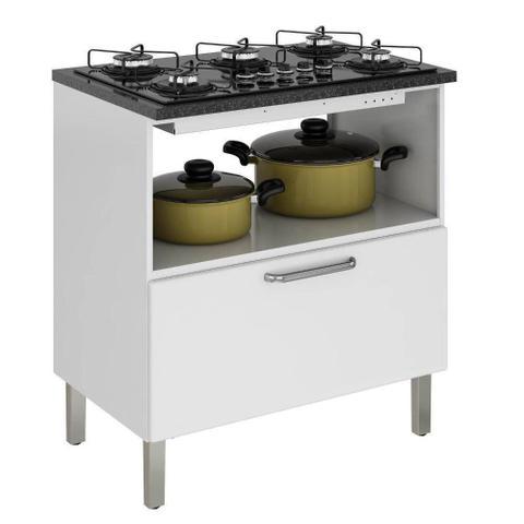 Imagem de Balcão Cozinha Itatiaia Tarsila para Cooktop 5 bocas 1 Porta e 1 Gaveta Branco IGH1G1-80 5B