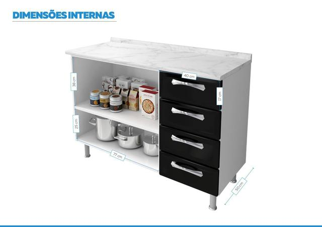 Imagem de Balcão Cozinhas Itatiaia Premium - 2 Portas e 4 Gavetas - Preto