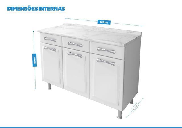 Imagem de Balcão Cozinhas Itatiaia Premium - 3 Portas e 3 Gavetas - Branco