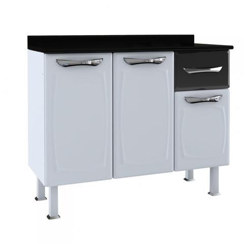 Imagem de Balcão de Cozinha com Tampo 3 Portas 1 Gaveta Aço Leblon Colormaq Branco/Preto