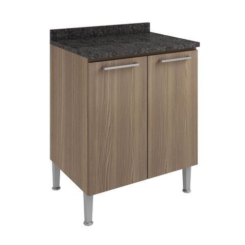 Imagem de Balcão De Cozinha Com Tampo Genialflex 70cm 2 Portas Castanho