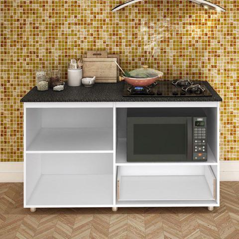 Imagem de Balcão de Cozinha Cooktop e Forno Microondas BL 210 Branco - Completa Móveis