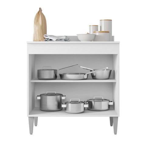 Imagem de Balcão de Cozinha Cooktop Roma 2 Portas Branco - Lumil Móveis