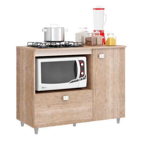 Imagem de Balcão de Cozinha Khloe para Cooktop 2 PT Flex Bege e Amarelo