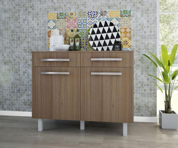 Imagem de Balcão de Cozinha Lorena 2 Portas 2 Gavetas Plus Branco com Montana - Madine