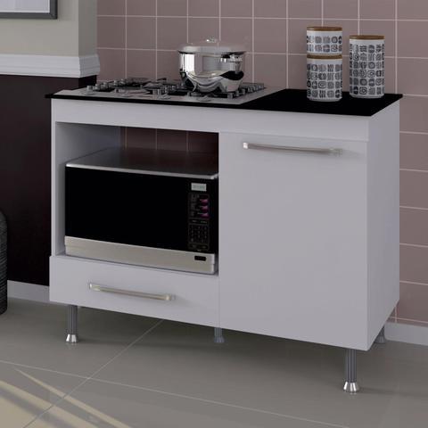 Imagem de Balcão de Cozinha para Cooktop 1 Gaveta Indekes Branco