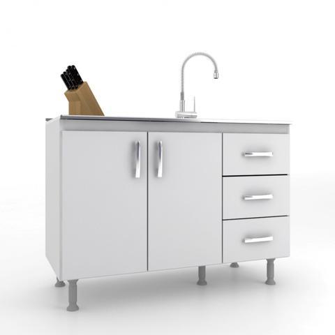 Imagem de Balcão de Cozinha sem Pia e Tampo 2 Portas 3 Gavetas Carolina Evidência Móveis Branco