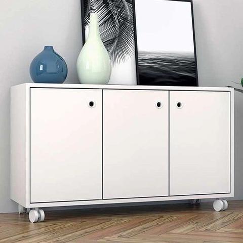 Imagem de Balcão De Escritório 3 Portas Com Rodízios Branco Brv Móveis