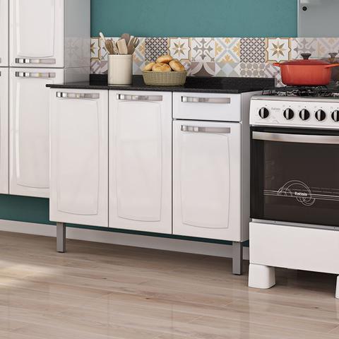 Imagem de Balcão Em Aço Para Cozinha Rose Branco Itatiaia Móveis