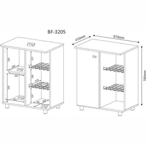 Imagem de Balcão Fruteira para Forno e Microondas 1 Porta Branco BF3205 Tecno Móbili