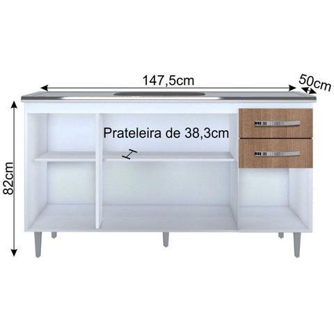 Imagem de Balcão Gabinete de Pia 150cm Lisboa 4pts 2gav Branco/Carvalho - Lumil Móveis