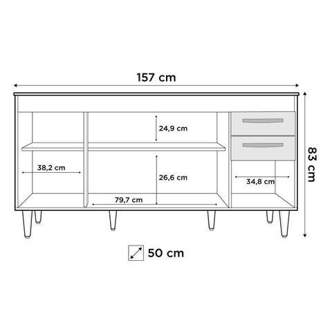 Imagem de Balcão Gabinete de Pia Áustria 160cm 04 Portas 02 Gavetas Branco - Lumil Móveis
