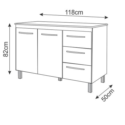 Imagem de Balcão Gabinete para Pia de 120cm Moblis Camile 2 portas e 3 gavetas Branco/Castanho