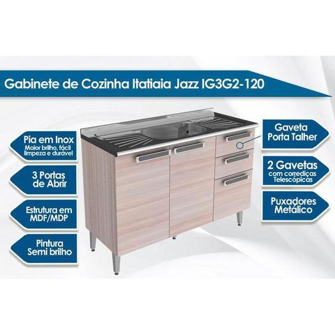 Imagem de Balcão Itatiaia Jazz IG3G2-120 Madeira Pia Bege