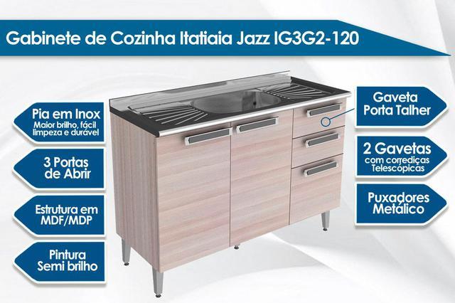 Imagem de Balcão Itatiaia Jazz IG3G2-120 Madeira Pia Coimbra Bege