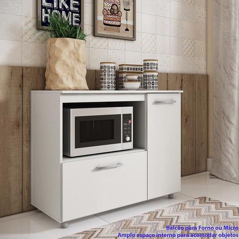 Imagem de Balcão Multifuncional Forno e Microondas 2 portas Branco
