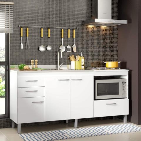 Imagem de Balcão Multiuso de Cozinha 3 Portas 3 Gavetas Lev Decibal Branco