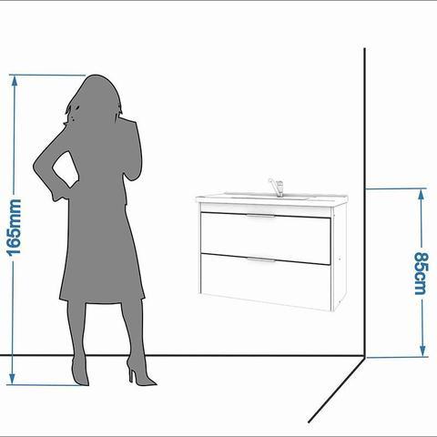 Imagem de Balcão para Banheiro com 1 Porta e 1 Gaveta com Vidro 79cm Lavanda-MGM