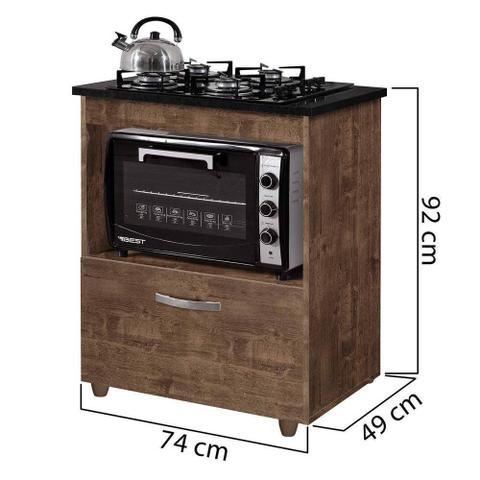 Imagem de Balcão Para Cooktop 1 Porta Basculante Salvia Ipê Kaiki Móveis