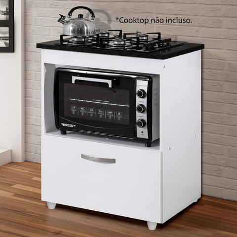 Imagem de Balcão para Cooktop 1 Porta Basculante Salvia Kaiki Móveis Branco