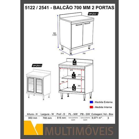 Imagem de Balcão para Cooktop 2 portas C/ Tampo Sicília - Multimóveis
