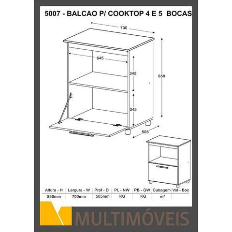 Imagem de Balcão para Cooktop 4 ou 5 bocas 5007 - Multimóveis