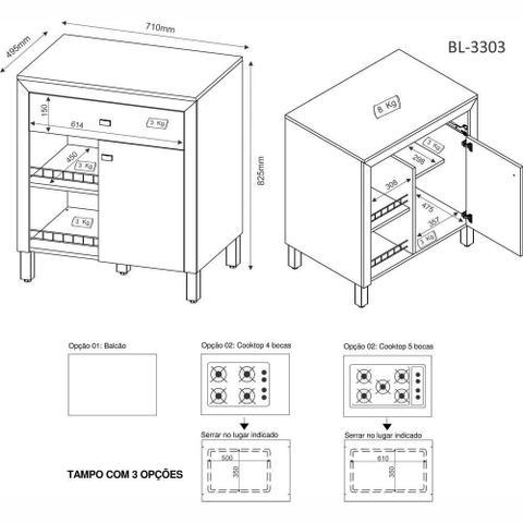 Imagem de Balcão para Cooktop 4 ou 5 bocas com Porta e Gaveta BL3303 Tecno Móbili