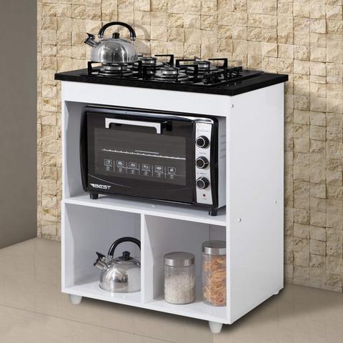 Imagem de Balcão  para Cooktop e Forno 1 Gaveta Smart Siena Móveis Branco