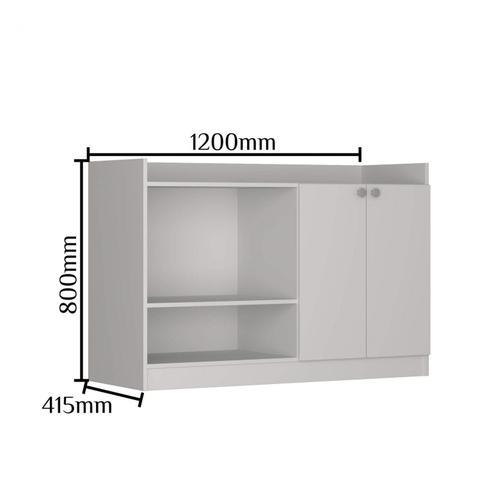 Imagem de Balcão para Forno e Microondas 2 Portas Nova Mobile Branco