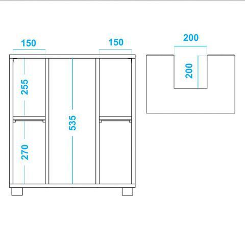 Imagem de Balcão para Pia com 01 Porta e 02 Nichos BBN 01 Branco - BRV