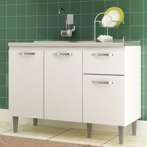 Imagem de Balcão Para Pia de Cozinha Light 3 Portas 1 Gaveta CZ6282BR Branco -  IRM
