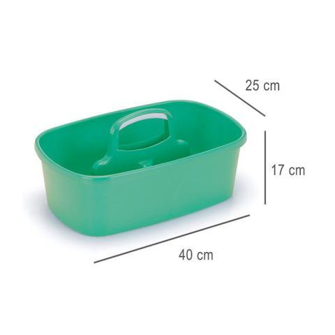 Imagem de Balde Cesto Multiuso Alça Verde Encaixável Lavanderia 8 lts