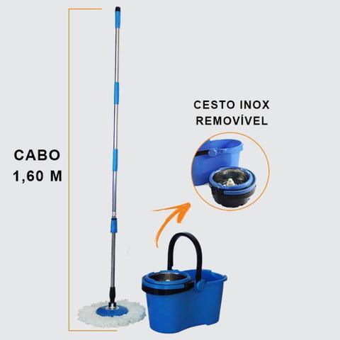 Imagem de Balde Mop Esfregão Com Cesto Inox Cabo 1,60 Metros Com 3 Refis Microfibra, Limpeza Pó, Limpeza Pesada