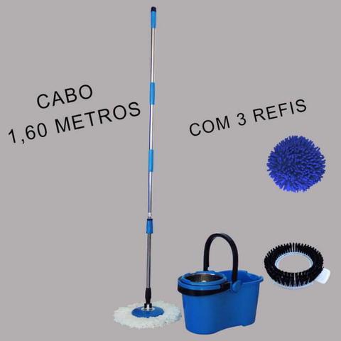Imagem de Balde Mop Pro 360 Com Centrifuga Inox Removível E Dreno Cabo 1,60m - Azul