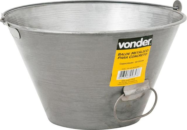 Imagem de Balde para concreto 10 litros metálico envernizado - Vonder
