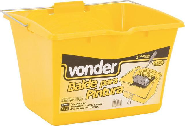 Imagem de Balde plástico para pintura 15 litros 38x37,5x25cm amarelo - Vonder