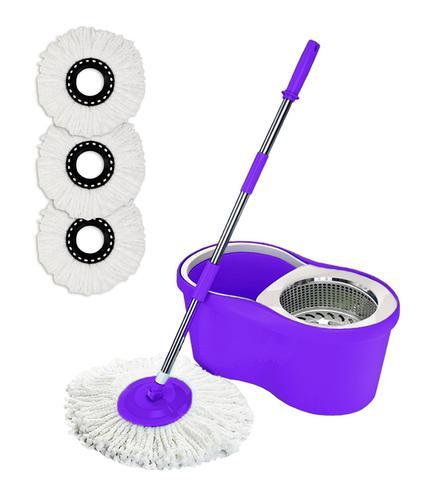 Imagem de Balde Spin Mop 360 Com 3 Refil Esfregão Microfibra - Roxo