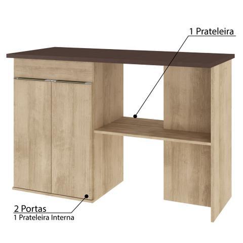 Imagem de Bancada para Cozinha Áustria 2 Portas e 1 Prateleira - Nogueira