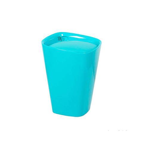 Imagem de Banco de plástico estofado 50cm azul Coisas e Coisinhas