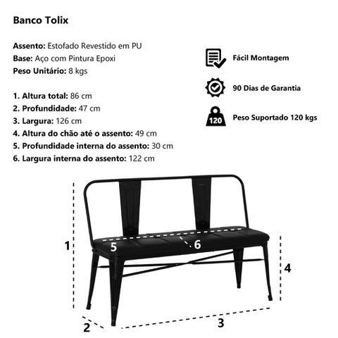 Imagem de Banco Tolix Iron Assento PU Preto
