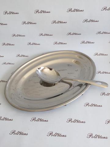 Imagem de Bandeja Aço Inox  Oval 30 C/ Colher  Premium- WELLMIX