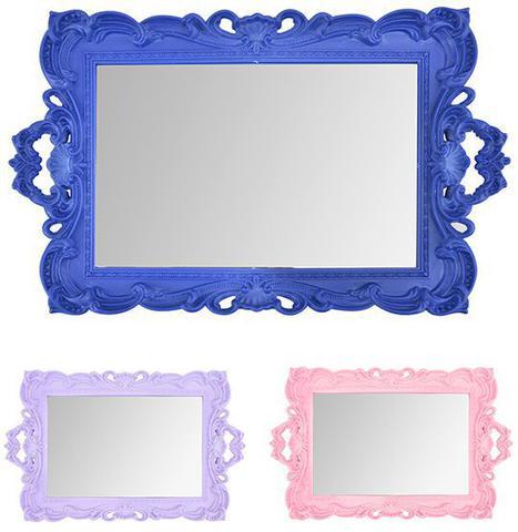 Imagem de Bandeja de Plastico com Espelho Retangular Moldura Colonial e Alca Colors 41x25,5cm