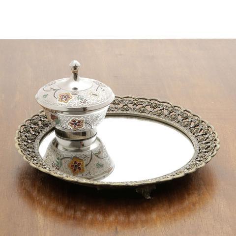 Imagem de Bandeja Decorativa Zamac Espelhada Redonda - Borda Trabalhada Treasure