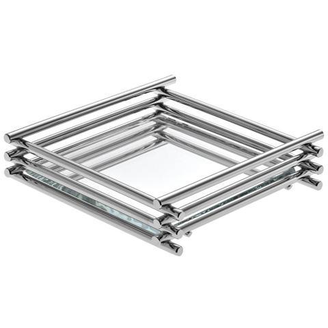 Imagem de Bandeja Espelhada Wire Cromada 10x10cm Quadrada