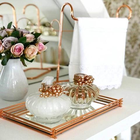 Imagem de Bandeja Espelhada Wire Rosé Gold 10x25cm Retangular