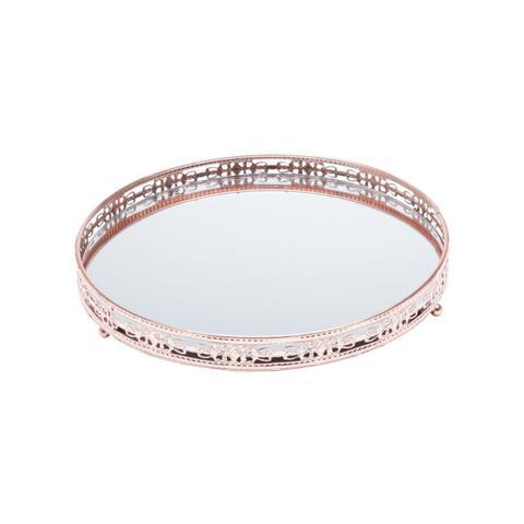 Imagem de Bandeja Ferro Redonda Prata 29cm Com Espelho Bunch Prestige
